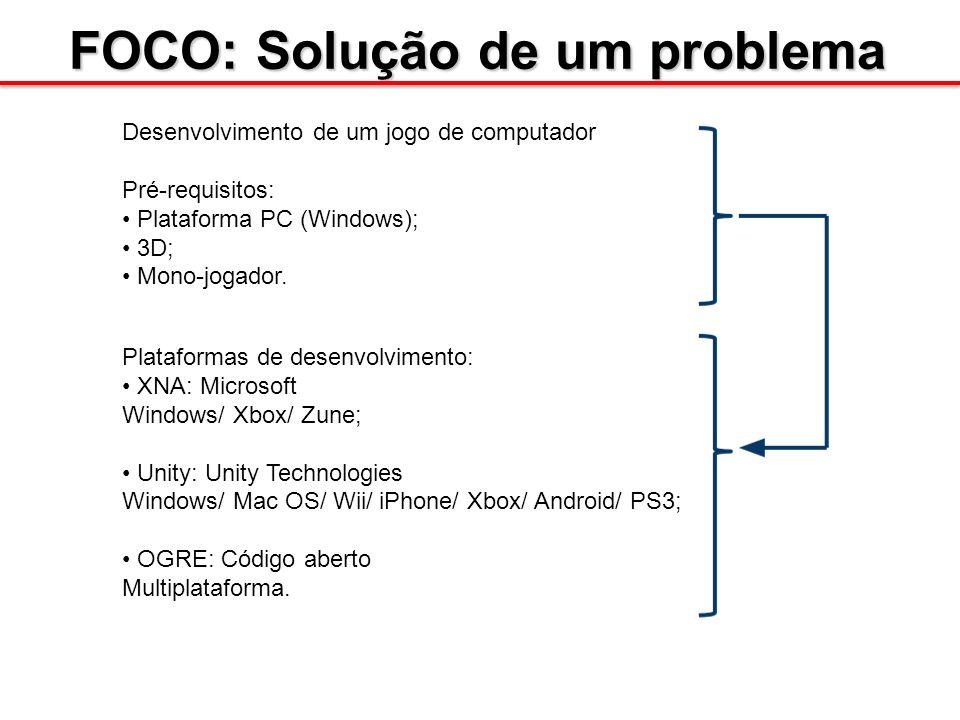 FOCO: Solução de um problema Desenvolvimento de um jogo de computador Pré-requisitos: Plataforma PC (Windows); 3D; Mono-jogador. Plataformas de desenv