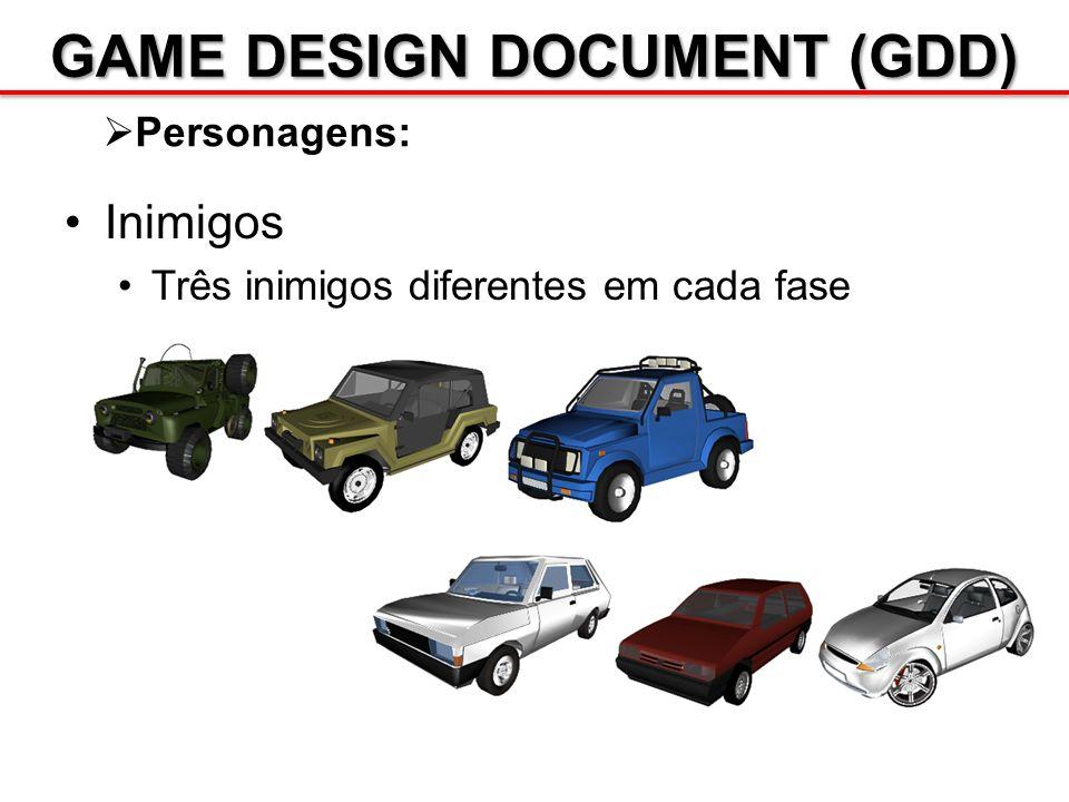 GAME DESIGN DOCUMENT (GDD) Personagens: Inimigos Três inimigos diferentes em cada fase