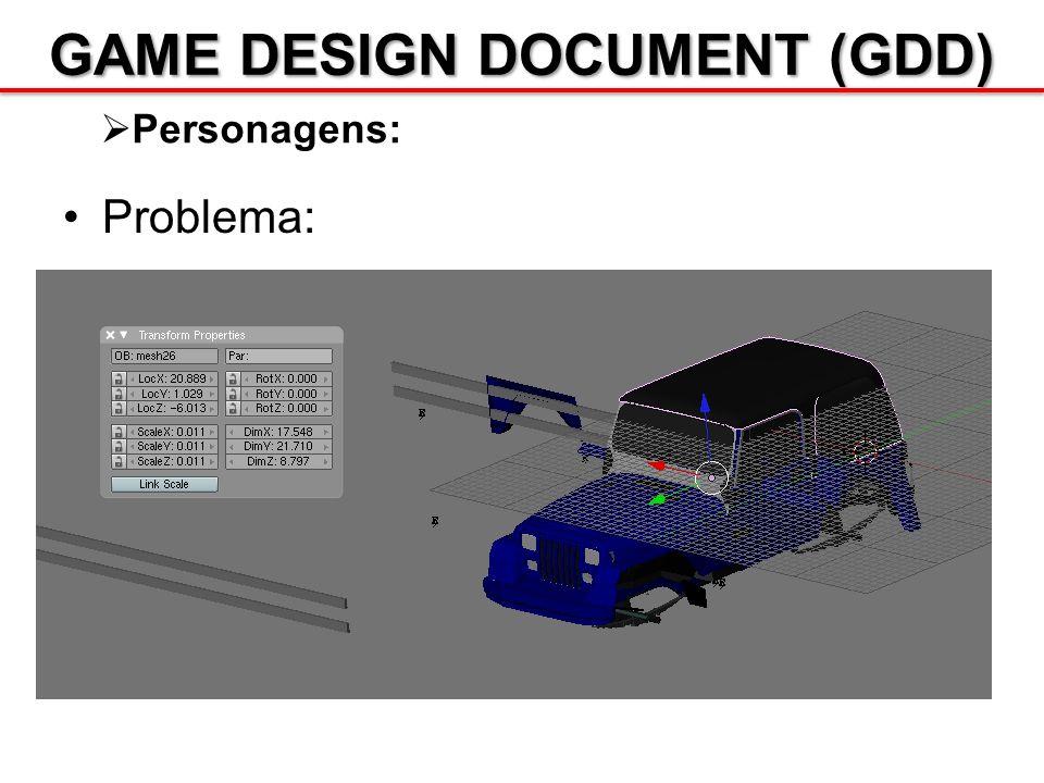 GAME DESIGN DOCUMENT (GDD) Personagens: Problema: