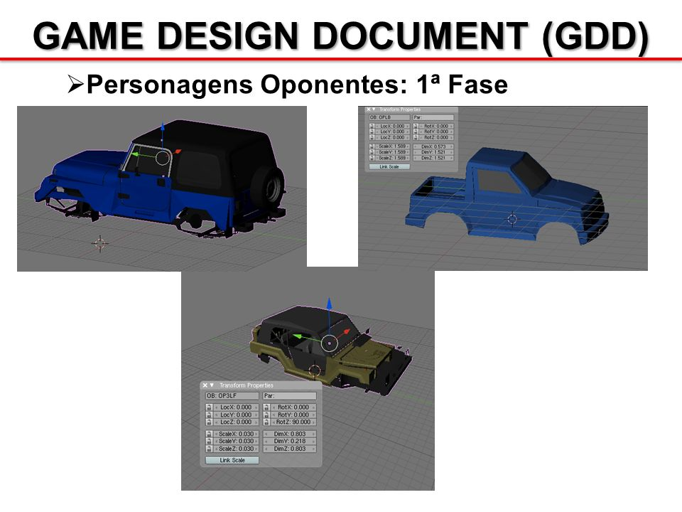 GAME DESIGN DOCUMENT (GDD) Personagens Oponentes: 1ª Fase