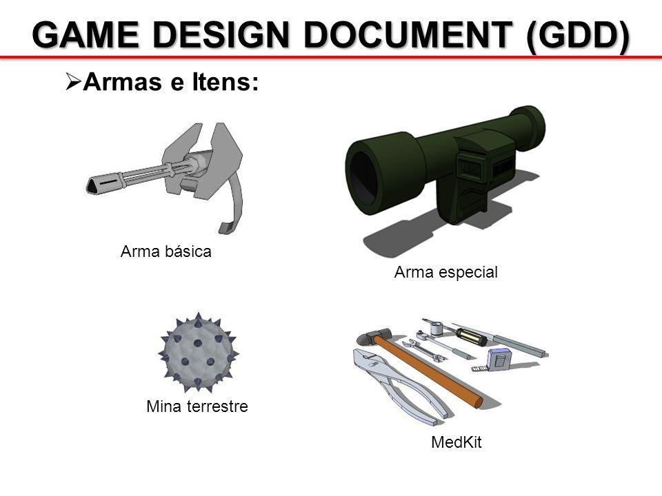 GAME DESIGN DOCUMENT (GDD) Armas e Itens: Arma básica Arma especial Mina terrestre MedKit