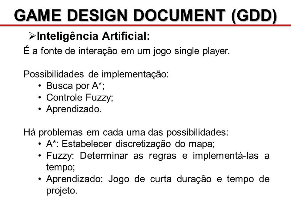 GAME DESIGN DOCUMENT (GDD) Inteligência Artificial: É a fonte de interação em um jogo single player. Possibilidades de implementação: Busca por A*; Co