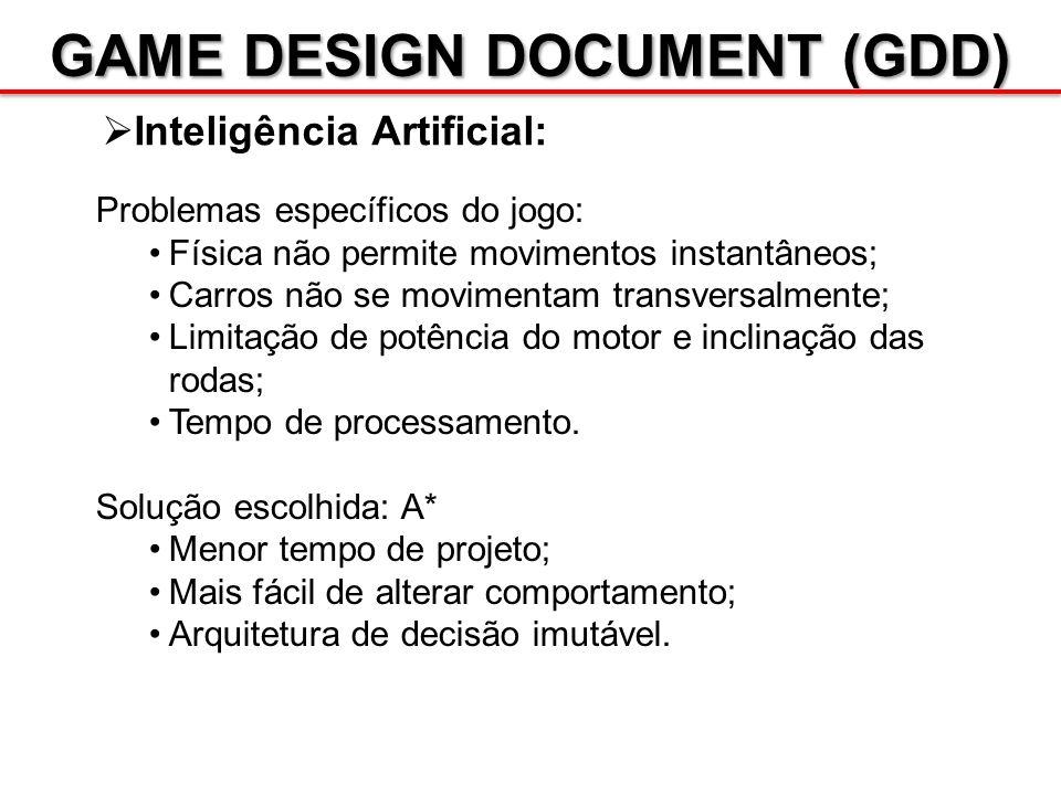 GAME DESIGN DOCUMENT (GDD) Inteligência Artificial: Problemas específicos do jogo: Física não permite movimentos instantâneos; Carros não se movimenta