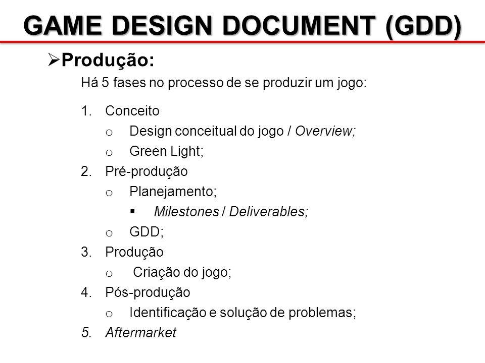 GAME DESIGN DOCUMENT (GDD) Produção: Há 5 fases no processo de se produzir um jogo: 1.Conceito o Design conceitual do jogo / Overview; o Green Light;