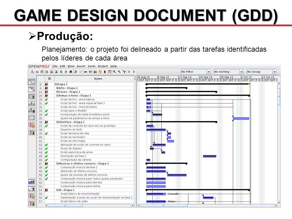 GAME DESIGN DOCUMENT (GDD) Produção: Planejamento: o projeto foi delineado a partir das tarefas identificadas pelos líderes de cada área