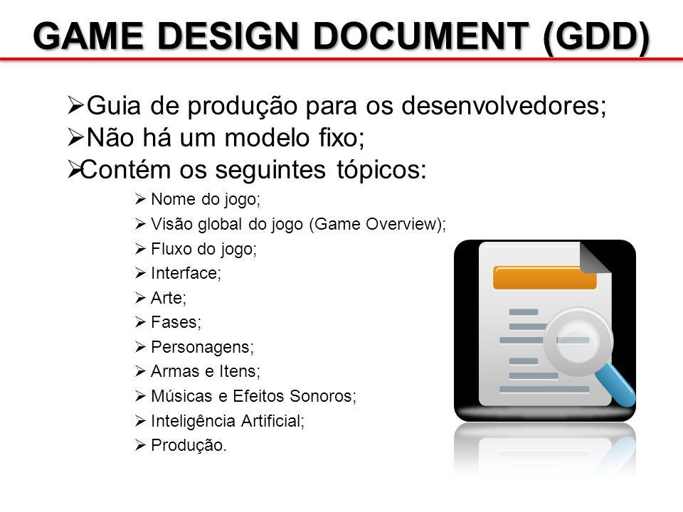 GAME DESIGN DOCUMENT (GDD) Guia de produção para os desenvolvedores; Não há um modelo fixo; Contém os seguintes tópicos: Nome do jogo; Visão global do