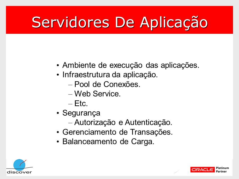 Servidores De Aplicação Ambiente de execução das aplicações. Infraestrutura da aplicação. – Pool de Conexões. – Web Service. – Etc. Segurança – Autori