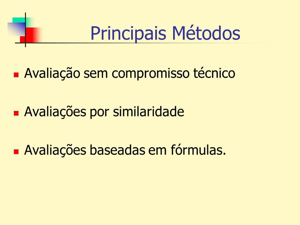 Principais Métodos Avaliação sem compromisso técnico Avaliações por similaridade Avaliações baseadas em fórmulas.
