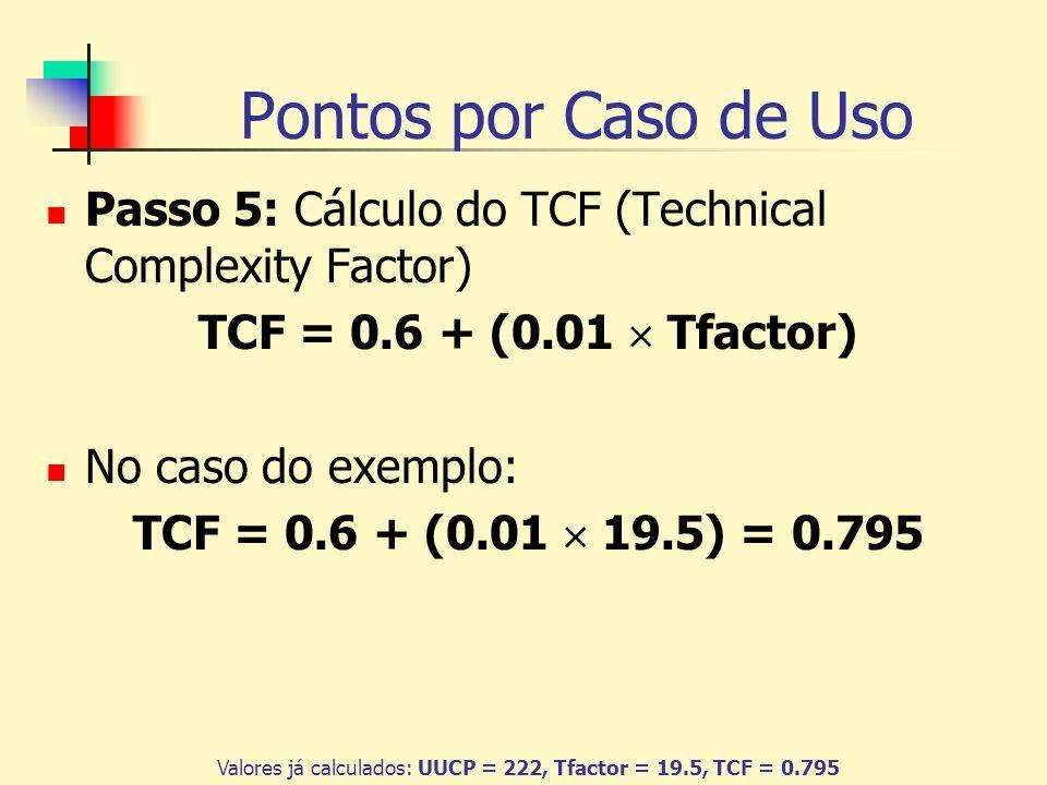 Pontos por Caso de Uso Passo 6: Cálculo do Efactor Para cada requisito listado na tabela, deve ser atribuído um valor que determina a influência do requisito no sistema, variando entre 0 e 5; FatorDescriçãoPeso E1 Familiaridade com RUP ou outro processo formal 1.5 E2 Experiência com a aplicação em desenvolvimento 0.5 E3 Experiência em Orientação a Objetos 1 E4 Presença de analista experiente 0.5 E5Motivação1 E6Requisitos estáveis2 E7 Desenvolvedores em meio- expediente E8 Linguagem de programação difícil 2