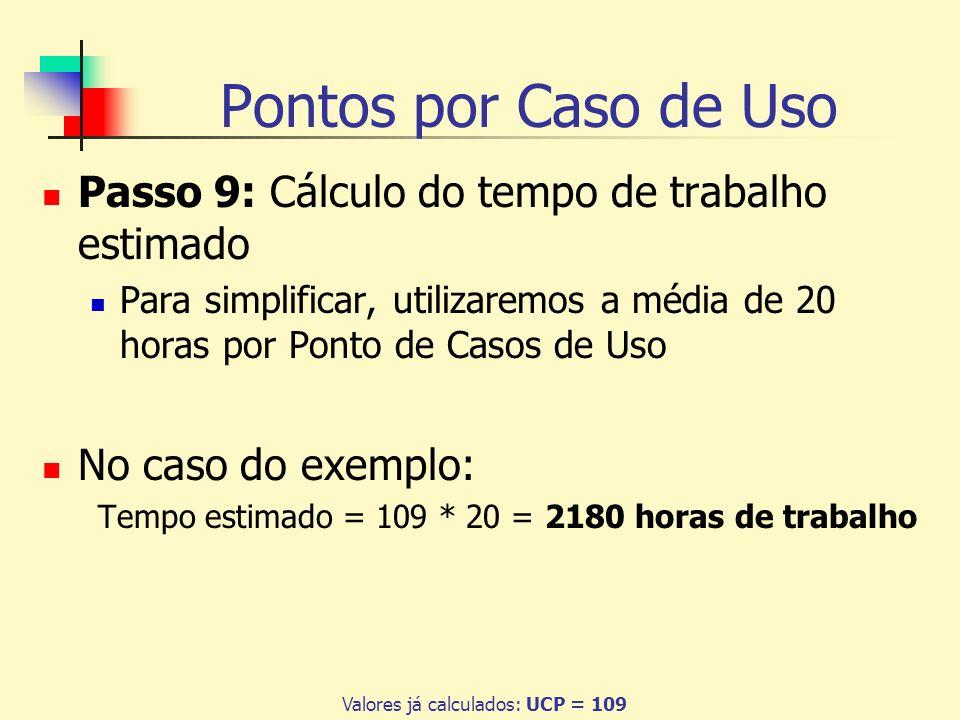 Pontos por Caso de Uso Passo 9: Cálculo do tempo de trabalho estimado Para simplificar, utilizaremos a média de 20 horas por Ponto de Casos de Uso No