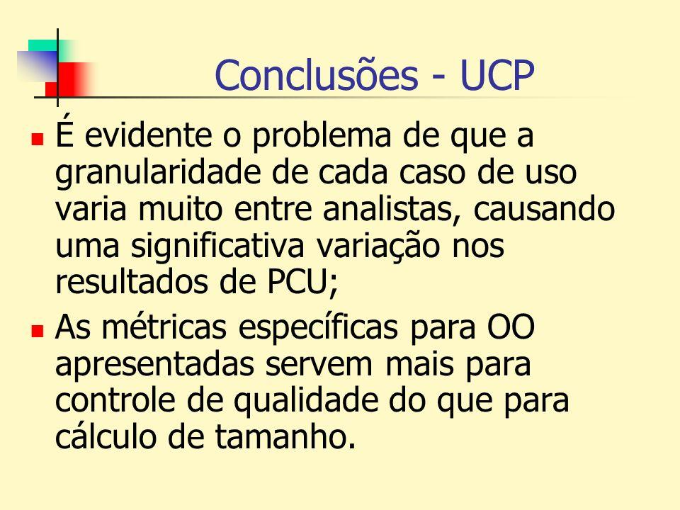 Conclusões - UCP É evidente o problema de que a granularidade de cada caso de uso varia muito entre analistas, causando uma significativa variação nos
