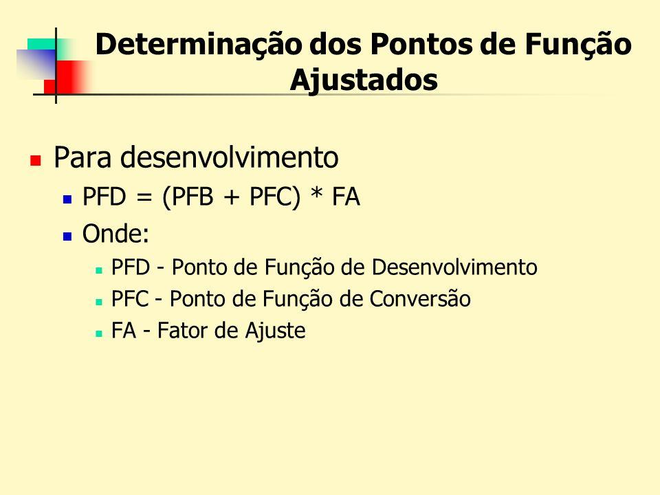 Determinação dos Pontos de Função Ajustados Para desenvolvimento PFD = (PFB + PFC) * FA Onde: PFD - Ponto de Função de Desenvolvimento PFC - Ponto de