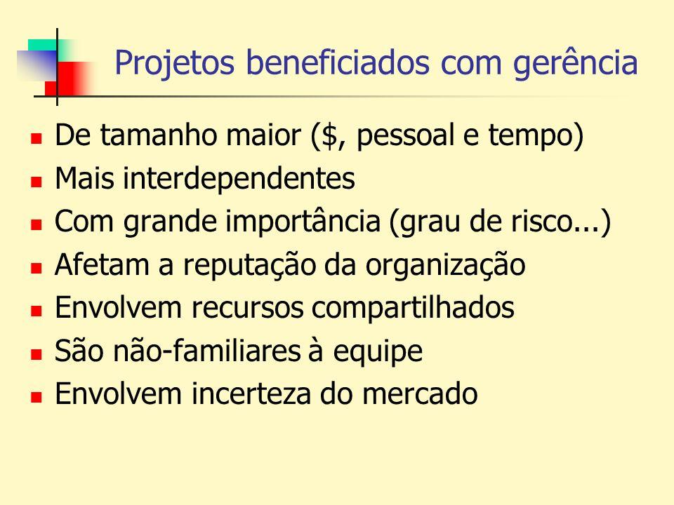 Projetos beneficiados com gerência De tamanho maior ($, pessoal e tempo) Mais interdependentes Com grande importância (grau de risco...) Afetam a repu