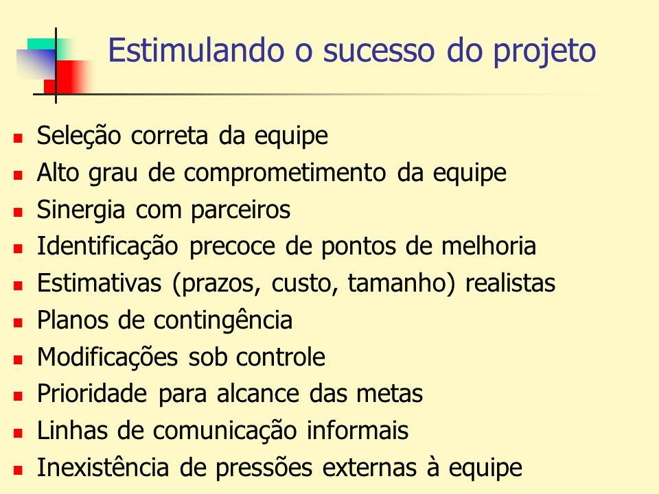 Estimulando o sucesso do projeto Seleção correta da equipe Alto grau de comprometimento da equipe Sinergia com parceiros Identificação precoce de pont