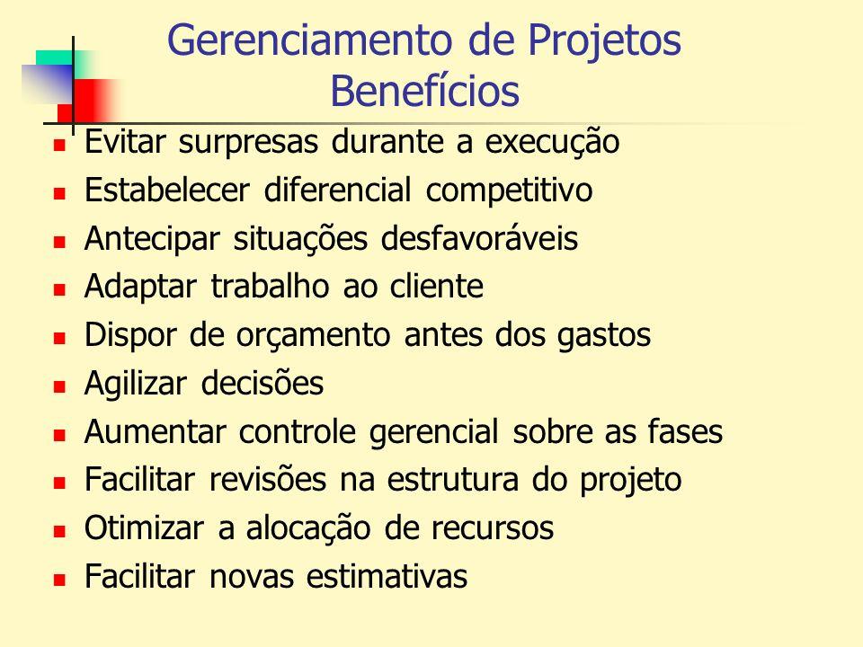 Gerenciamento de Projetos Benefícios Evitar surpresas durante a execução Estabelecer diferencial competitivo Antecipar situações desfavoráveis Adaptar