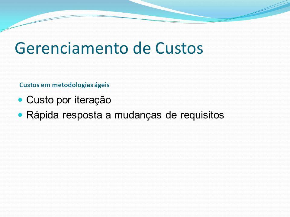 Gerenciamento de Custos Custo por iteração Rápida resposta a mudanças de requisitos Custos em metodologias ágeis