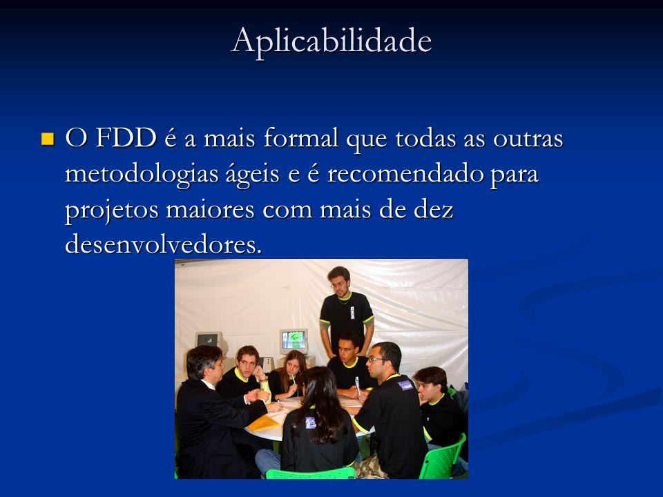 Aplicabilidade O FDD é a mais formal que todas as outras metodologias ágeis e é recomendado para projetos maiores com mais de dez desenvolvedores. O F