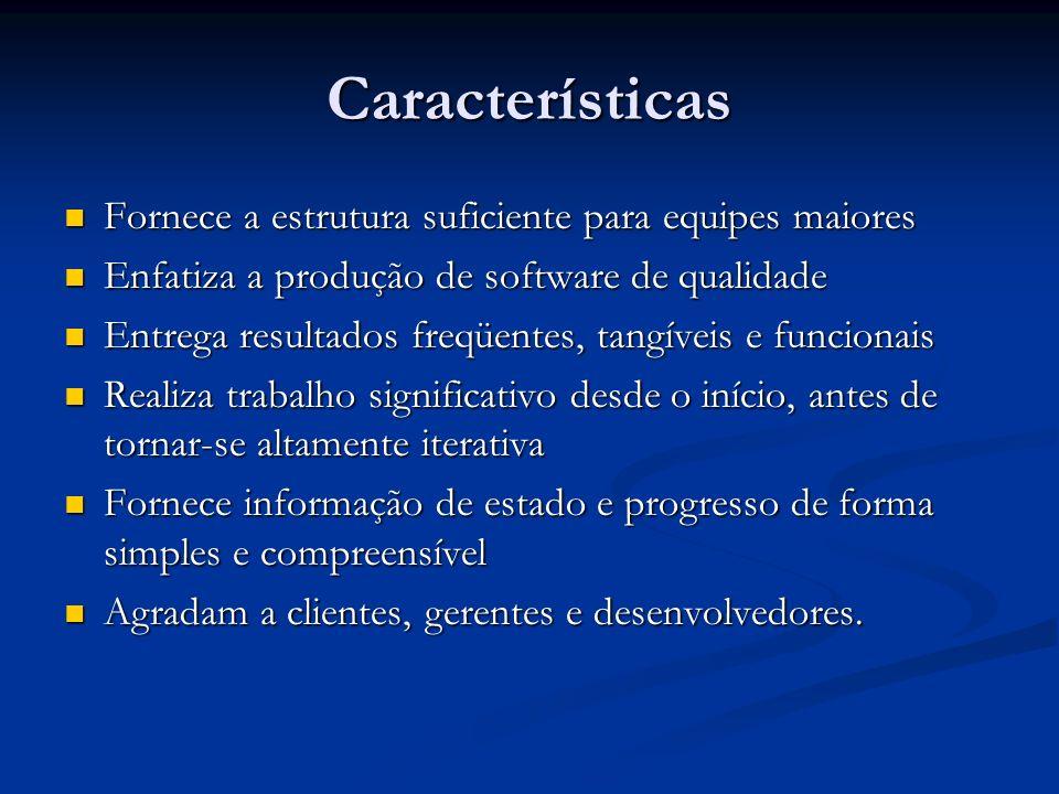 Características Fornece a estrutura suficiente para equipes maiores Fornece a estrutura suficiente para equipes maiores Enfatiza a produção de softwar