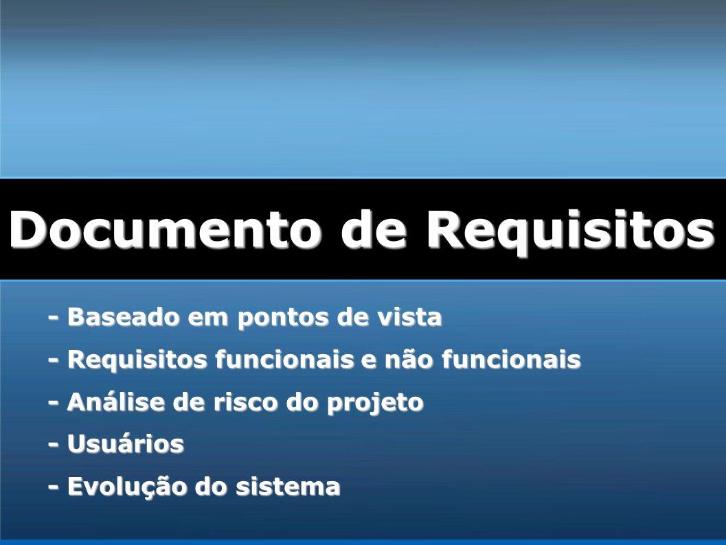 - Baseado em pontos de vista - Requisitos funcionais e não funcionais - Análise de risco do projeto - Usuários - Evolução do sistema Documento de Requ