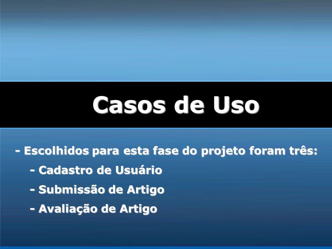 - Escolhidos para esta fase do projeto foram três: - Cadastro de Usuário - Submissão de Artigo - Avaliação de Artigo Casos de Uso