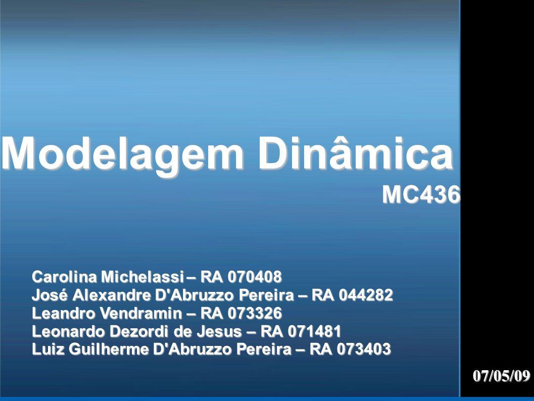 Modelagem Dinâmica MC436 07/05/09 Carolina Michelassi – RA 070408 José Alexandre D'Abruzzo Pereira – RA 044282 Leandro Vendramin – RA 073326 Leonardo