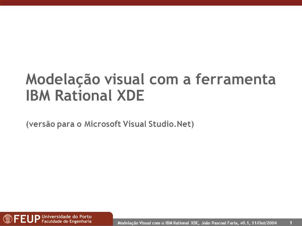 Modelação Visual com o IBM Rational XDE, João Pascoal Faria, v0.1, 11/Out/2004 1 Modelação visual com a ferramenta IBM Rational XDE (versão para o Microsoft Visual Studio.Net)