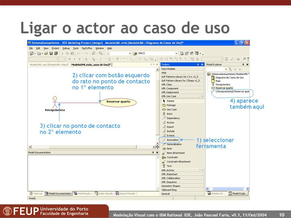 Modelação Visual com o IBM Rational XDE, João Pascoal Faria, v0.1, 11/Out/2004 10 Ligar o actor ao caso de uso 1) seleccionar ferramenta 2) clicar com
