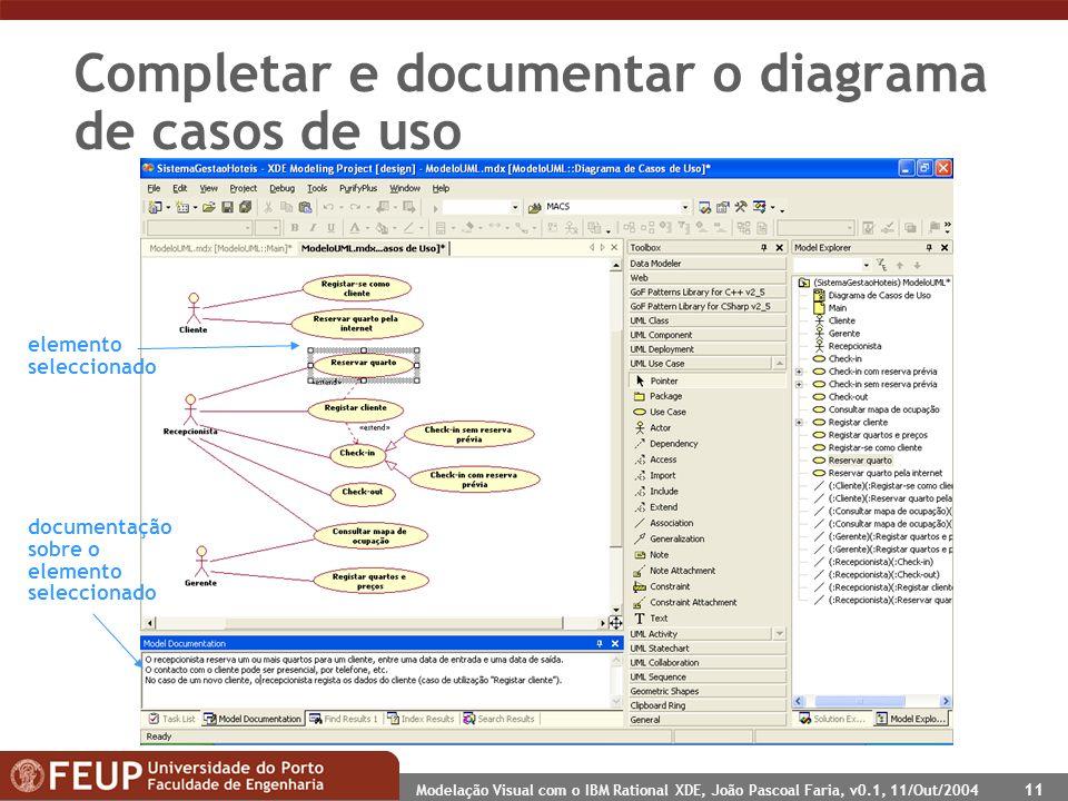 Modelação Visual com o IBM Rational XDE, João Pascoal Faria, v0.1, 11/Out/2004 11 Completar e documentar o diagrama de casos de uso documentação sobre o elemento seleccionado elemento seleccionado