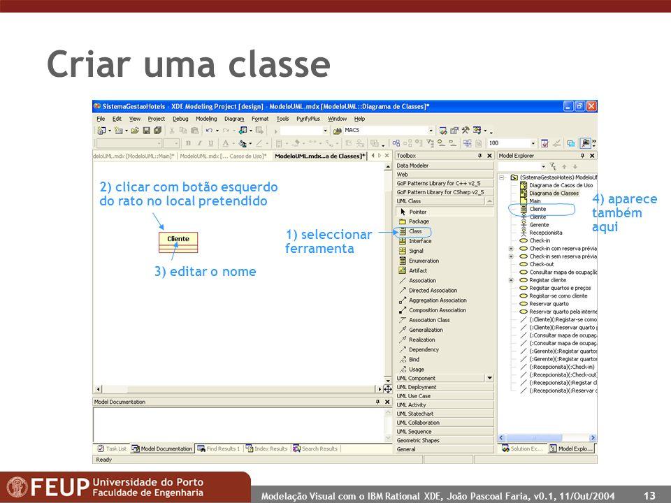 Modelação Visual com o IBM Rational XDE, João Pascoal Faria, v0.1, 11/Out/2004 13 Criar uma classe 1) seleccionar ferramenta 2) clicar com botão esque