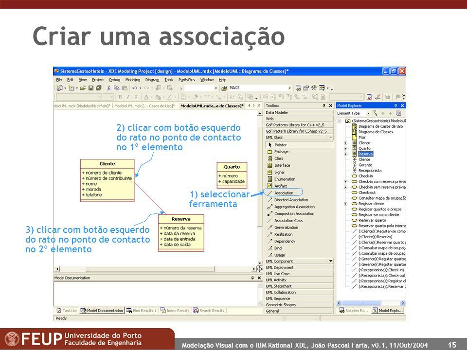 Modelação Visual com o IBM Rational XDE, João Pascoal Faria, v0.1, 11/Out/2004 15 Criar uma associação 1) seleccionar ferramenta 2) clicar com botão e