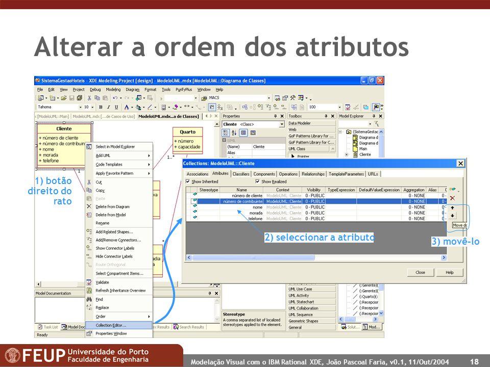 Modelação Visual com o IBM Rational XDE, João Pascoal Faria, v0.1, 11/Out/2004 18 Alterar a ordem dos atributos 2) seleccionar a atributo 3) movê-lo 1