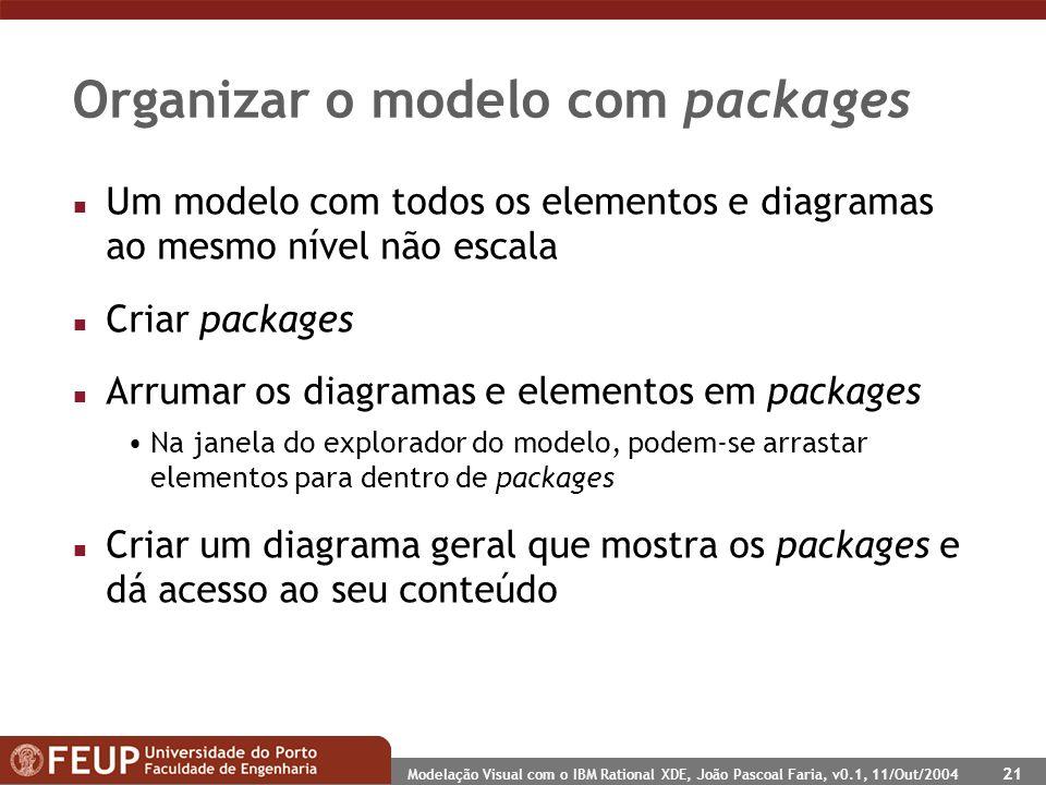 Modelação Visual com o IBM Rational XDE, João Pascoal Faria, v0.1, 11/Out/2004 21 Organizar o modelo com packages n Um modelo com todos os elementos e diagramas ao mesmo nível não escala n Criar packages n Arrumar os diagramas e elementos em packages Na janela do explorador do modelo, podem-se arrastar elementos para dentro de packages n Criar um diagrama geral que mostra os packages e dá acesso ao seu conteúdo