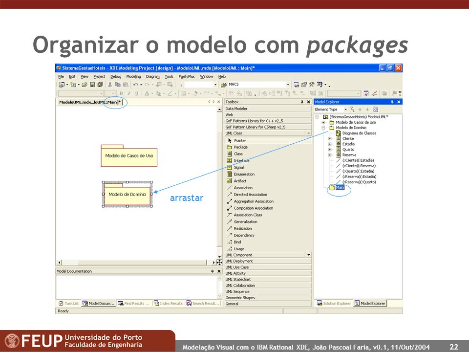 Modelação Visual com o IBM Rational XDE, João Pascoal Faria, v0.1, 11/Out/2004 22 Organizar o modelo com packages arrastar