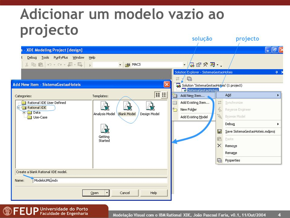 Modelação Visual com o IBM Rational XDE, João Pascoal Faria, v0.1, 11/Out/2004 4 Adicionar um modelo vazio ao projecto projectosolução
