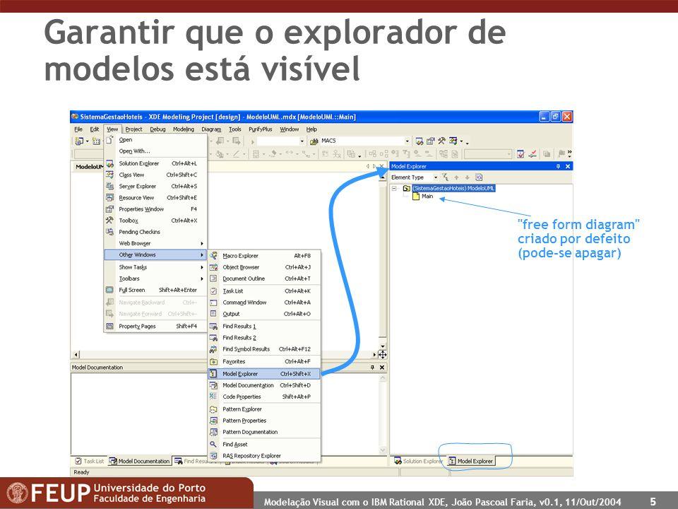 Modelação Visual com o IBM Rational XDE, João Pascoal Faria, v0.1, 11/Out/2004 5 Garantir que o explorador de modelos está visível free form diagram criado por defeito (pode-se apagar)