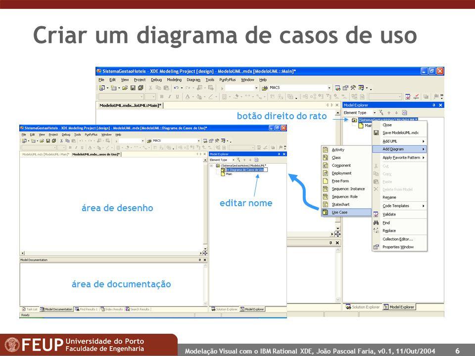 Modelação Visual com o IBM Rational XDE, João Pascoal Faria, v0.1, 11/Out/2004 6 Criar um diagrama de casos de uso botão direito do rato editar nome área de desenho área de documentação
