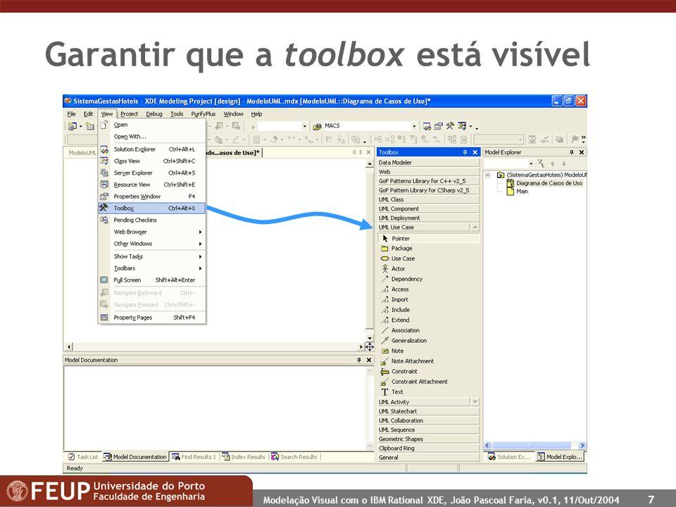 Modelação Visual com o IBM Rational XDE, João Pascoal Faria, v0.1, 11/Out/2004 7 Garantir que a toolbox está visível