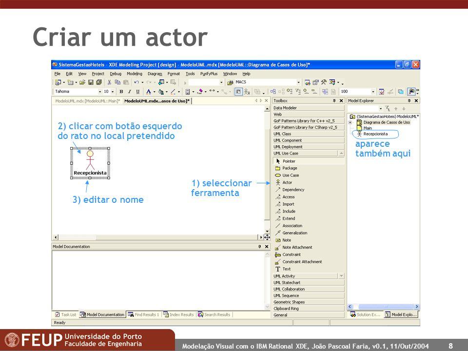 Modelação Visual com o IBM Rational XDE, João Pascoal Faria, v0.1, 11/Out/2004 8 Criar um actor 1) seleccionar ferramenta 2) clicar com botão esquerdo do rato no local pretendido 3) editar o nome aparece também aqui