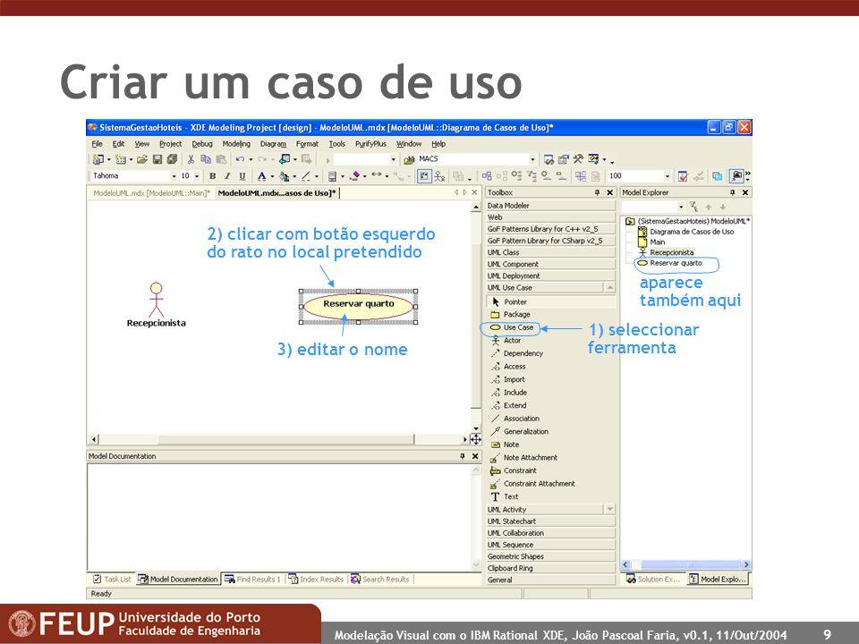 Modelação Visual com o IBM Rational XDE, João Pascoal Faria, v0.1, 11/Out/2004 9 Criar um caso de uso 1) seleccionar ferramenta 2) clicar com botão es
