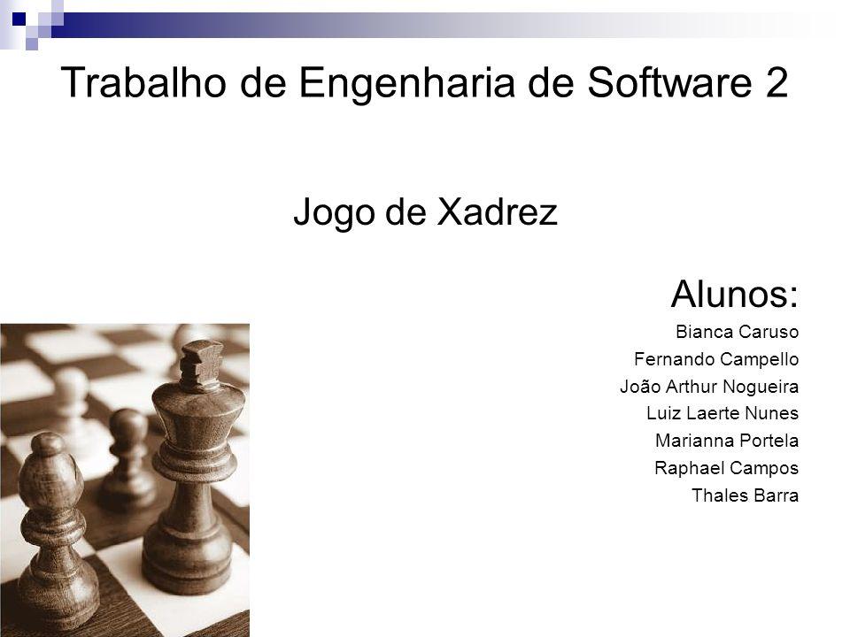 Trabalho de Engenharia de Software 2 Jogo de Xadrez Alunos: Bianca Caruso Fernando Campello João Arthur Nogueira Luiz Laerte Nunes Marianna Portela Ra