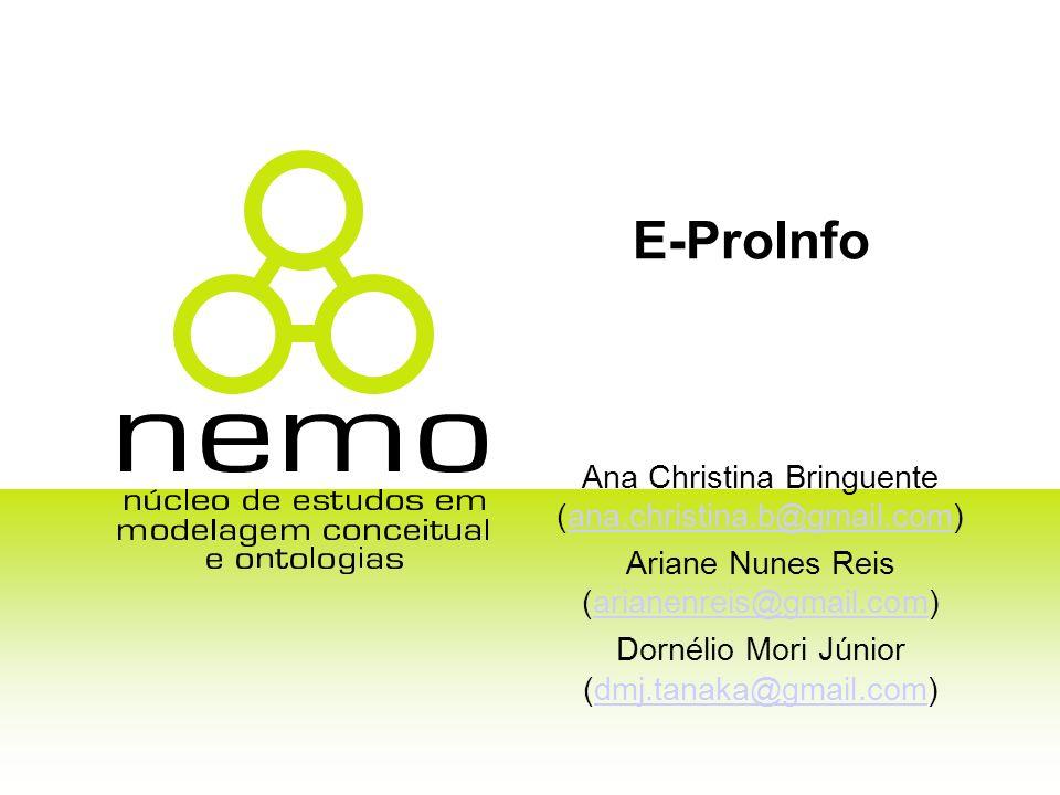 E-ProInfo Ana Christina Bringuente (ana.christina.b@gmail.com)ana.christina.b@gmail.com Ariane Nunes Reis (arianenreis@gmail.com)arianenreis@gmail.com