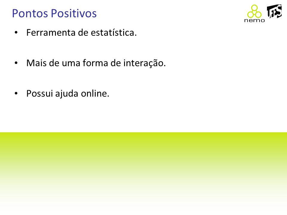 Pontos Positivos Ferramenta de estatística. Mais de uma forma de interação. Possui ajuda online.