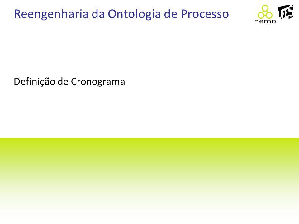 Reengenharia da Ontologia de Processo Definição de Cronograma
