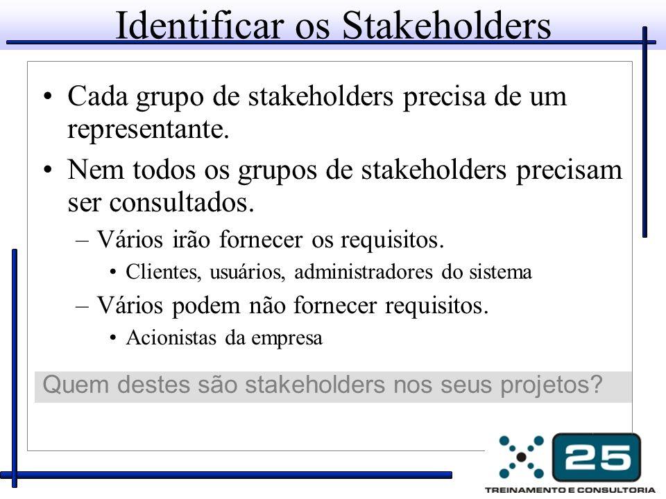 Identificar os Stakeholders Cada grupo de stakeholders precisa de um representante.