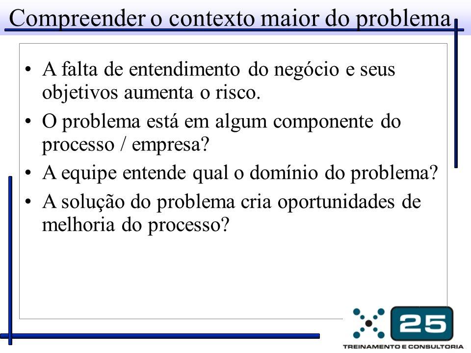 Compreender o contexto maior do problema A falta de entendimento do negócio e seus objetivos aumenta o risco.