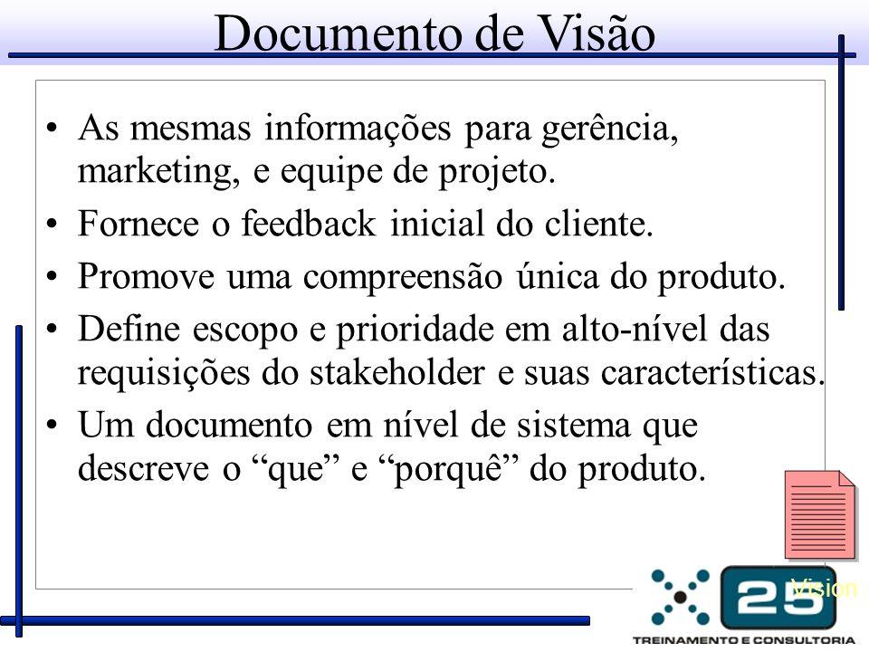 Documento de Visão As mesmas informações para gerência, marketing, e equipe de projeto.