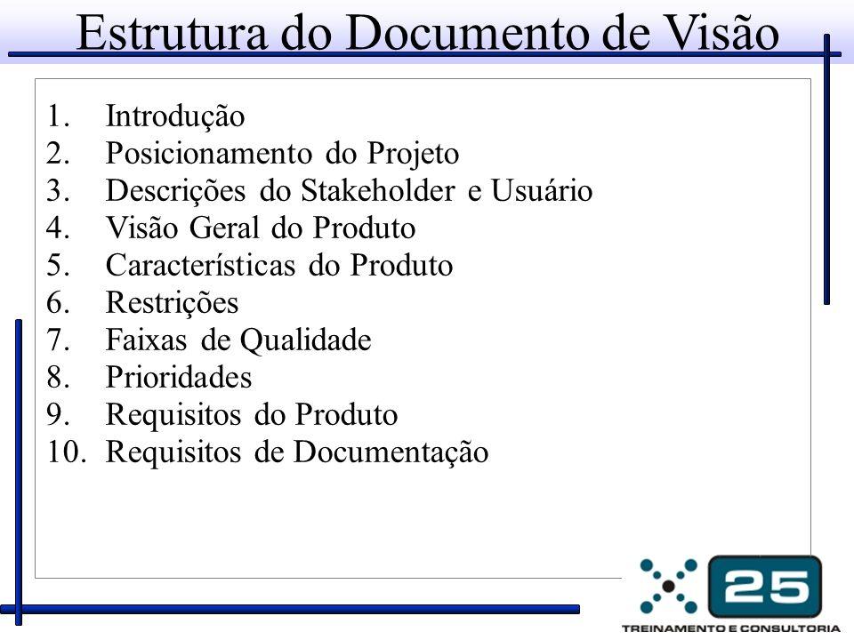 Estrutura do Documento de Visão 1.Introdução 2.Posicionamento do Projeto 3.Descrições do Stakeholder e Usuário 4.Visão Geral do Produto 5.Características do Produto 6.Restrições 7.Faixas de Qualidade 8.Prioridades 9.Requisitos do Produto 10.Requisitos de Documentação