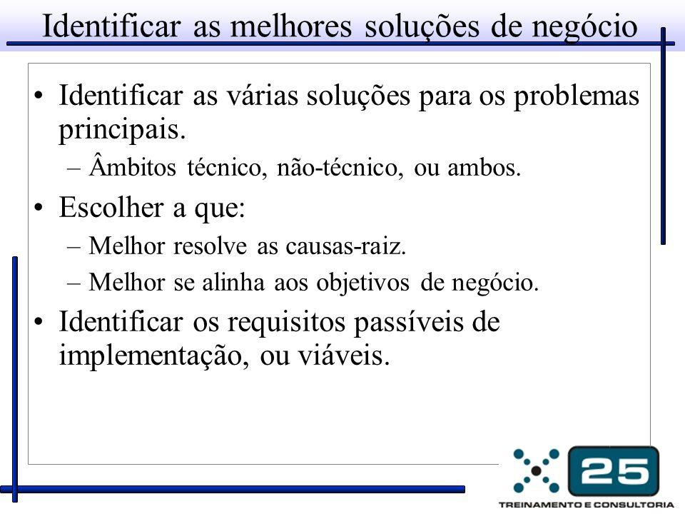 Identificar as melhores soluções de negócio Identificar as várias soluções para os problemas principais.
