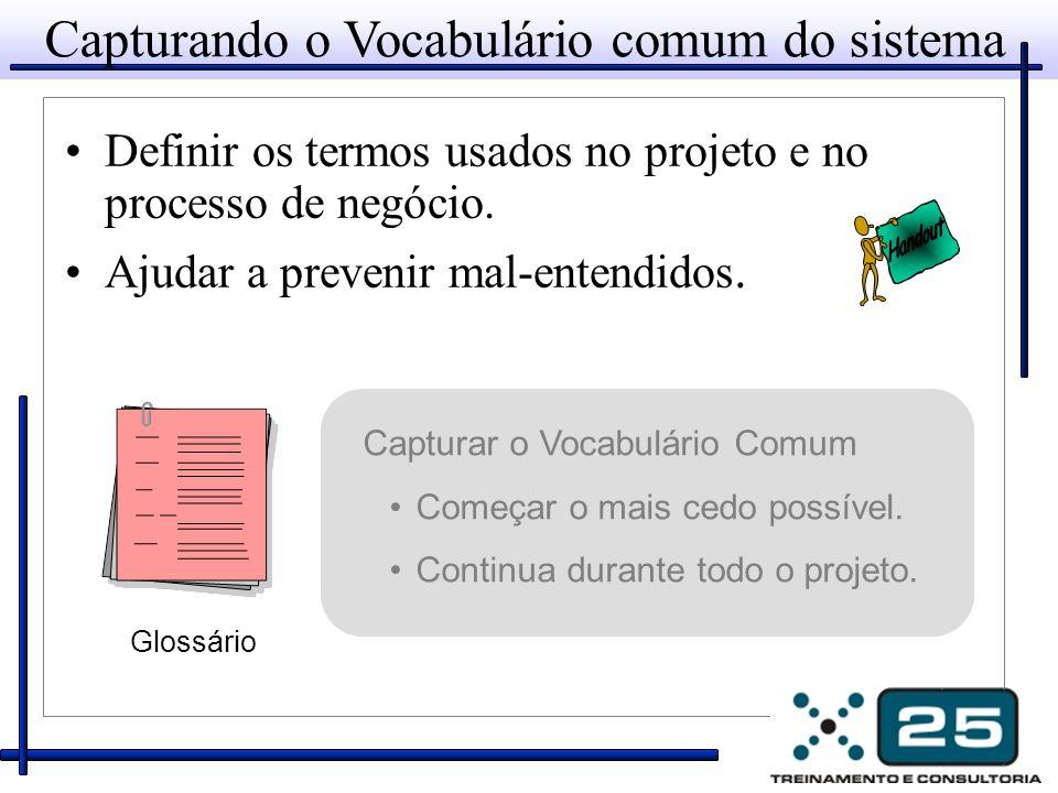 Capturando o Vocabulário comum do sistema Definir os termos usados no projeto e no processo de negócio.