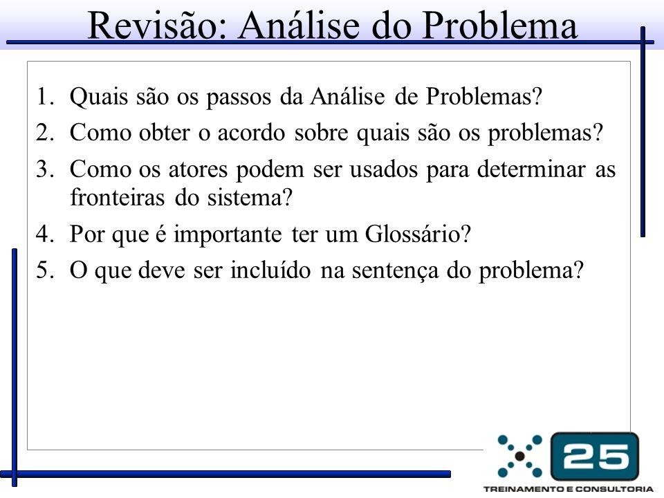Revisão: Análise do Problema 1.Quais são os passos da Análise de Problemas.